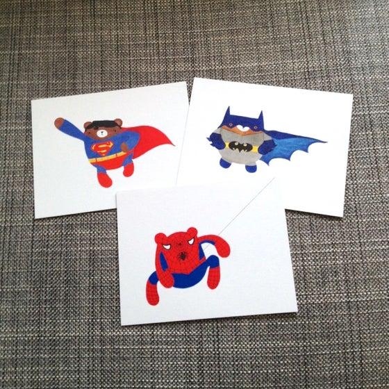 Image of pudgy superhero bear postcards + prints