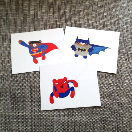 Image of pudgy superhero bear postcards