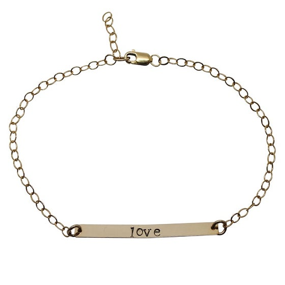 Image of Personalised 18ct Gold Filled Bar Bracelet