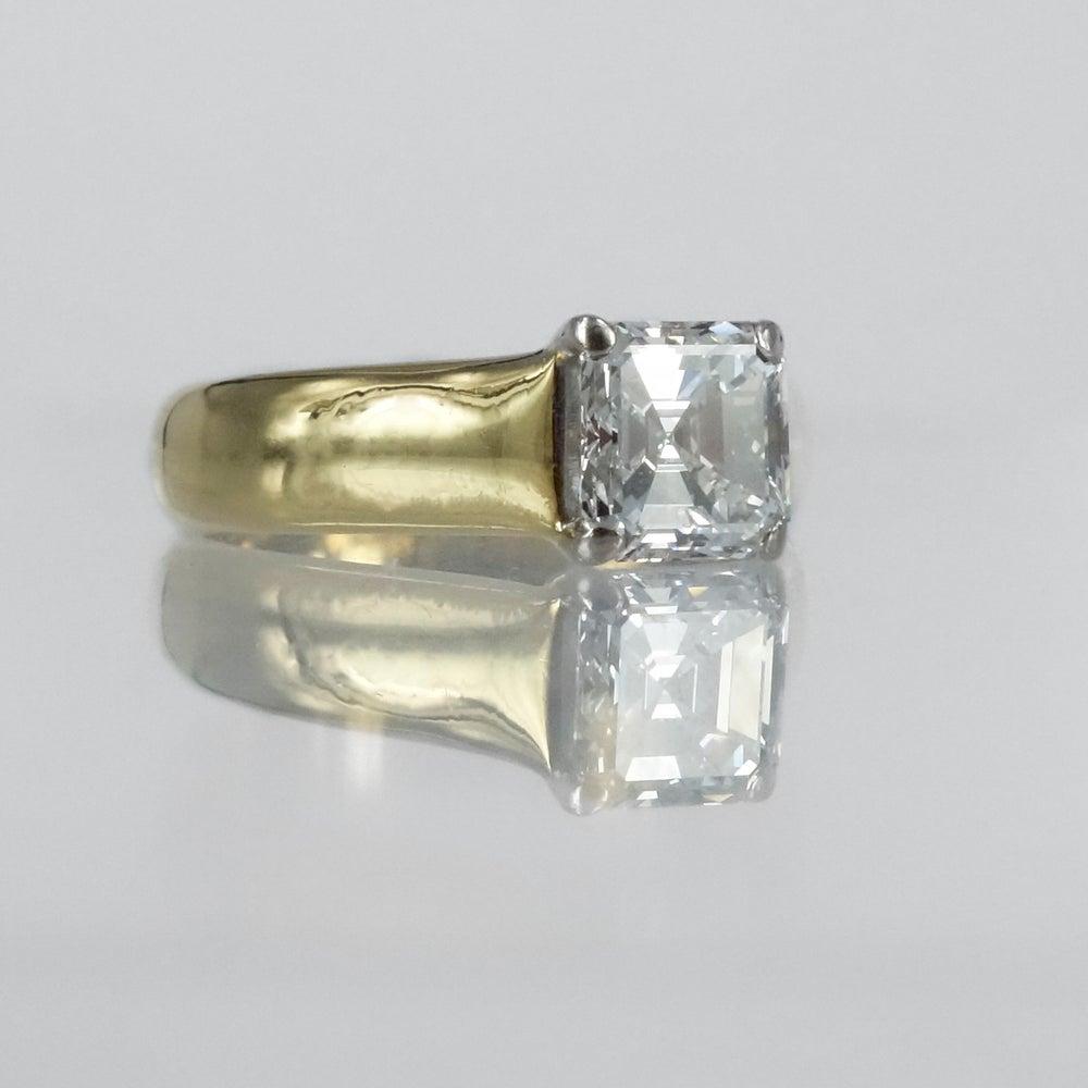 Image of 18ct yellow gold Asscher cut diamond engagement ring