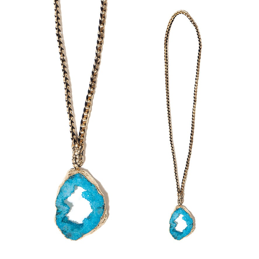 """Image of Blue """"Crystal Magic"""" & Leather Necklace"""