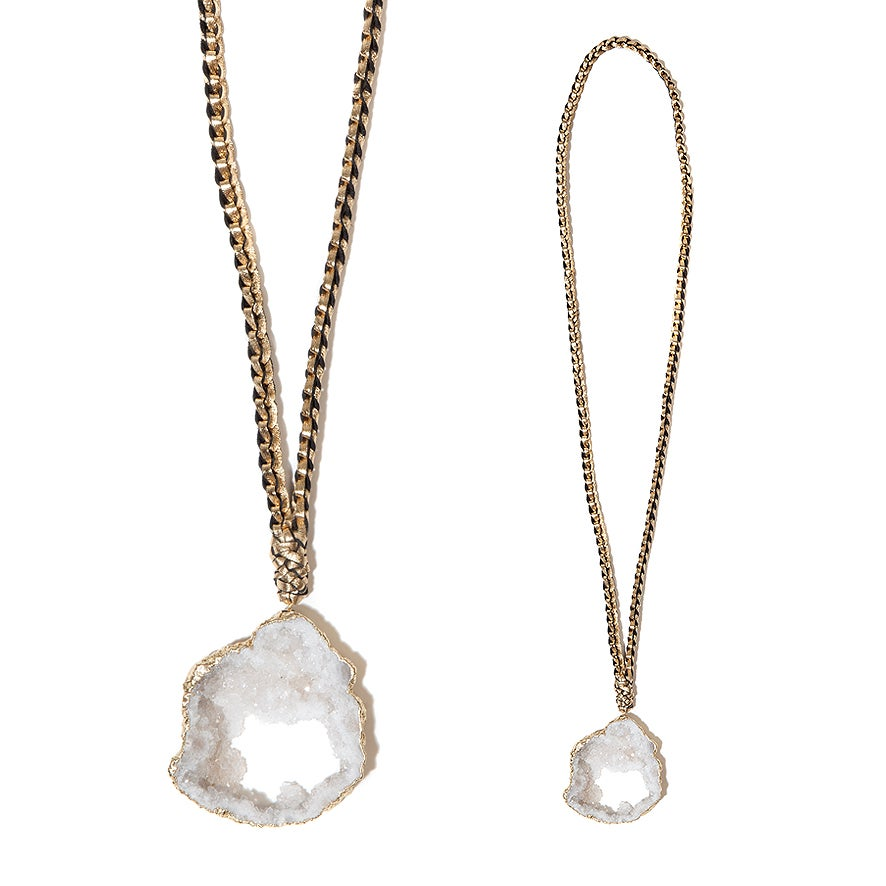 """Image of White """"Crystal Magic"""" & Leather Necklace"""