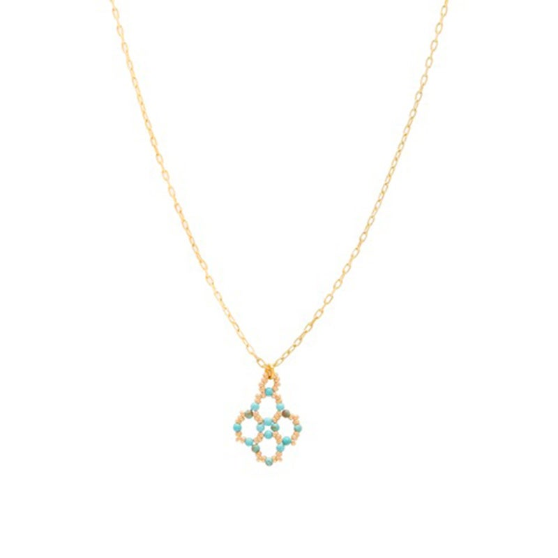 Image of Turquoise Clover Pendant Gold