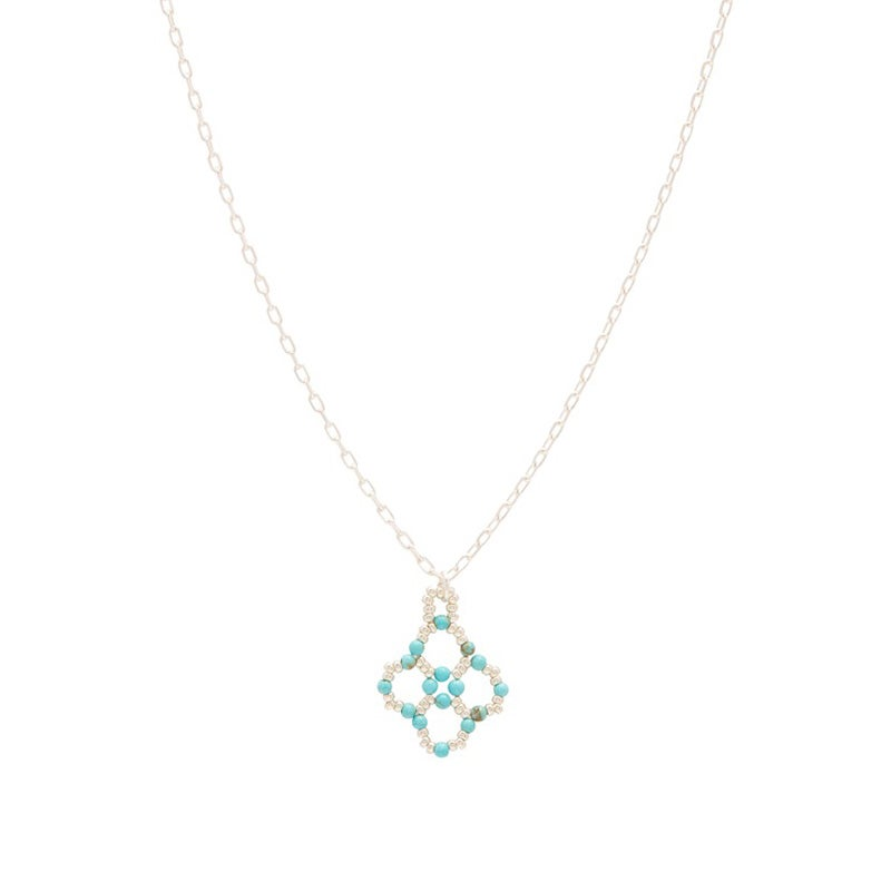 Image of Turquoise Clover Pendant Silver