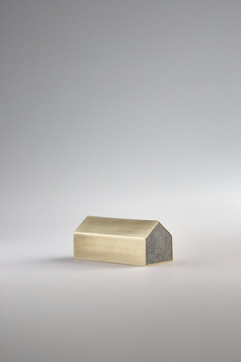 Image of Brass Concrete House Paperweight