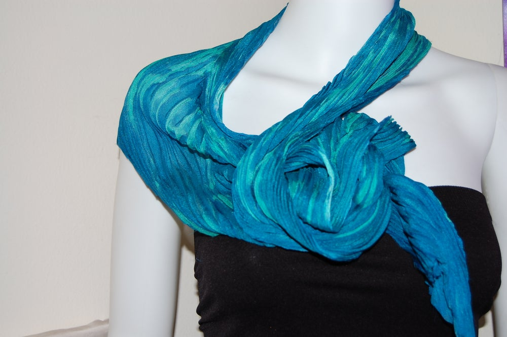 Image of Blue & Green Silk Shibori Scarf - Handpainted Silk Shibori