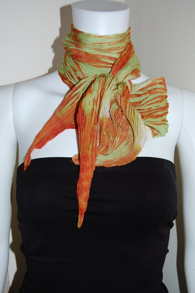 Image of Orange Silk Shibori Scarf - Handpainted Silk Shibori