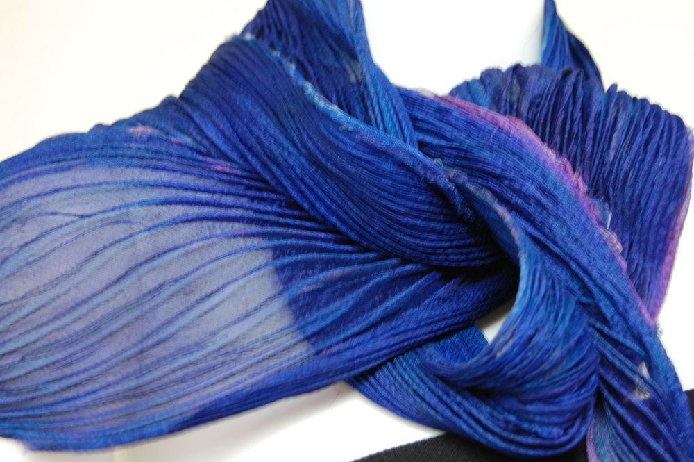 Image of Violet Silk Shibori Scarf - Handpainted Silk Shibori