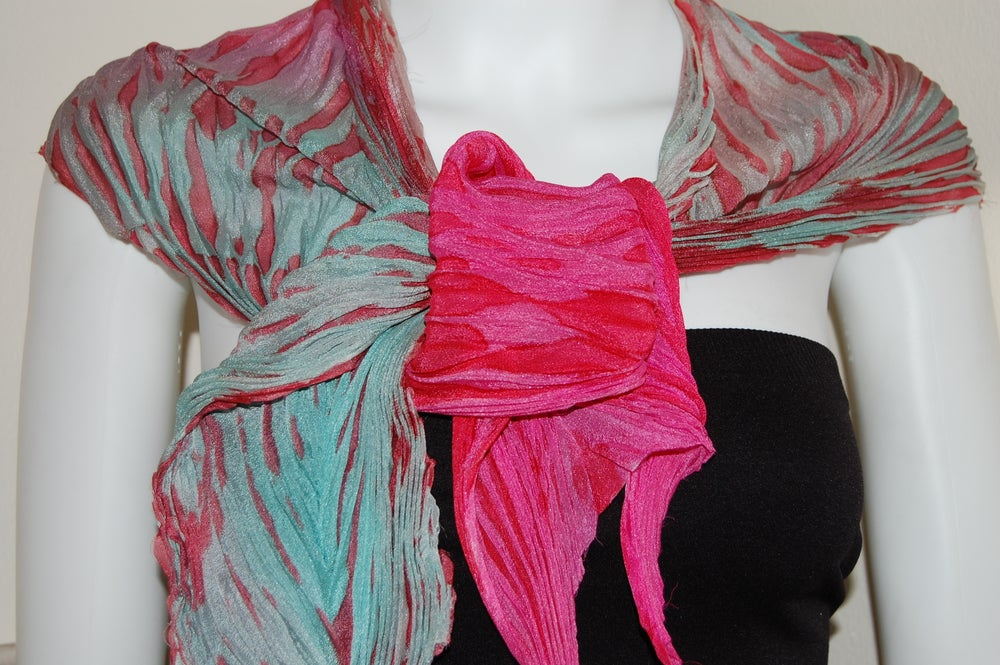 Image of Green & Pink Silk Shibori Scarf - Handpainted Silk Shibori