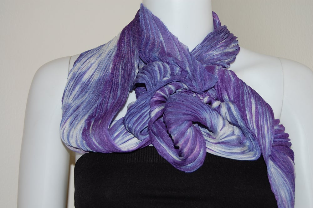 Image of Purple & White Silk Shibori Scarf - Handpainted Silk Shibori