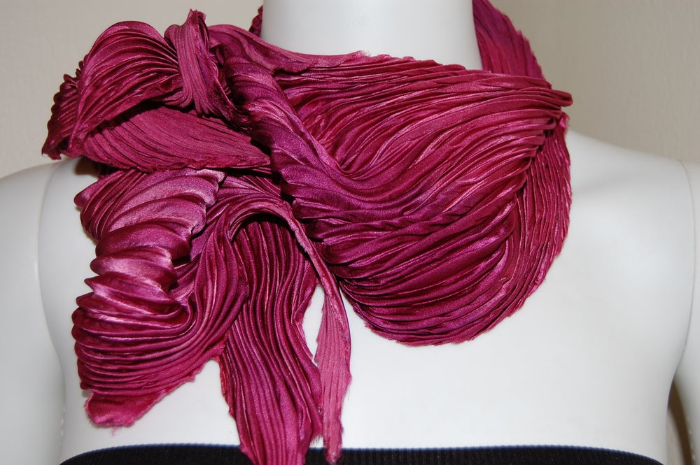 Image of Cranberry Silk Shibori Scarf - Handpainted Silk Shibori