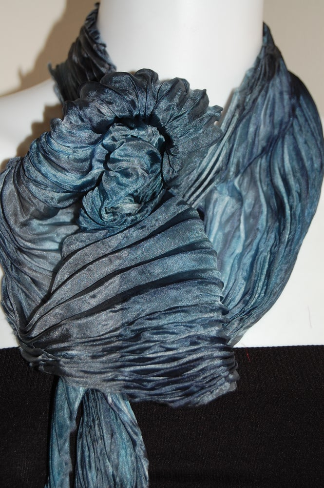 Image of Blue Gray Silk Shibori Scarf - Handpainted Silk Shibori