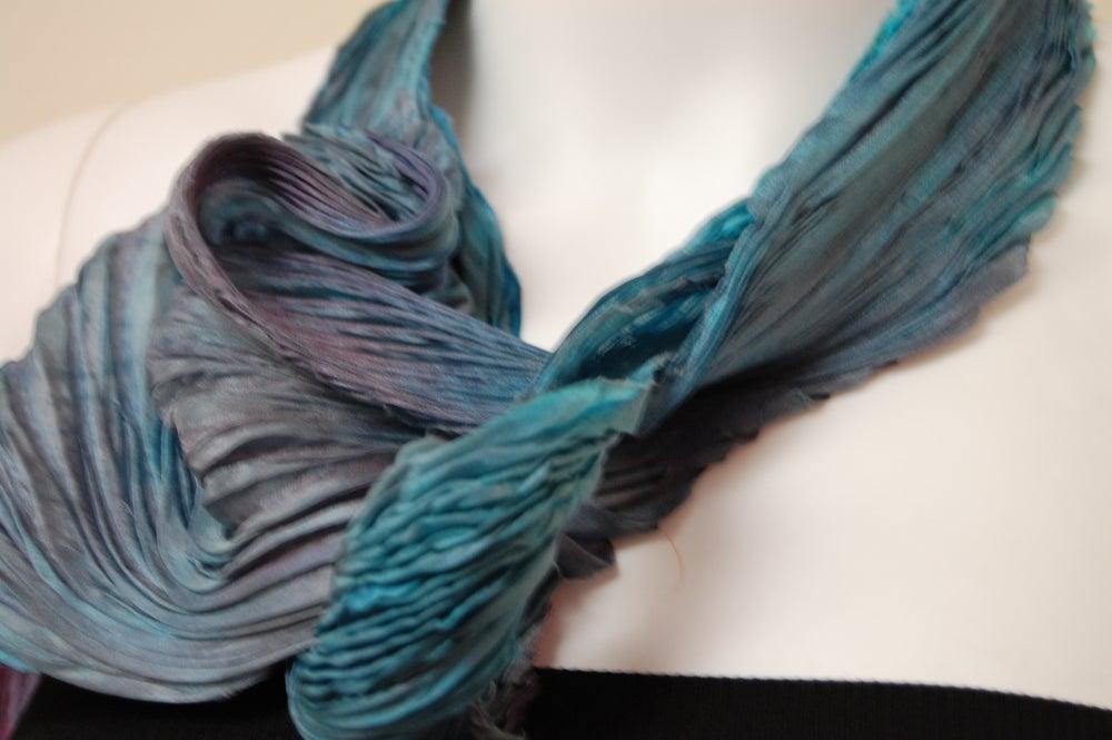 Image of Grayish Blue Silk Shibori Scarf - Handpainted Silk Shibori