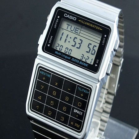 Silver Finish Casio Digital Calculator Watch With Databank
