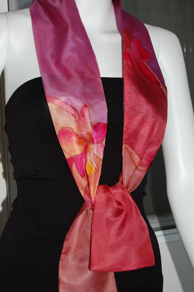 Image of Red Skinny Silk Scarf - Handpainted Silk