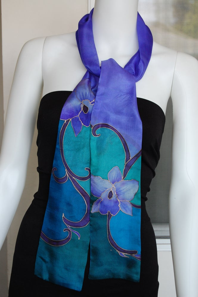 Image of Violet Skinny Silk Scarf - Handpainted Silk