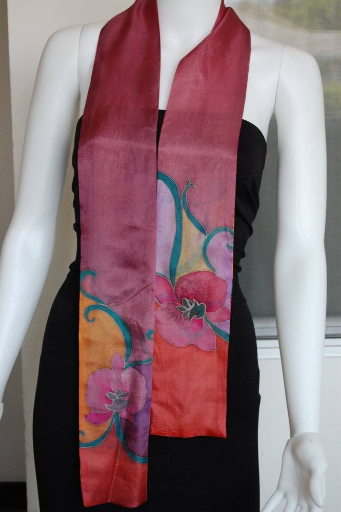 Image of Red Orange Skinny Silk Scarf - Handpainted Silk