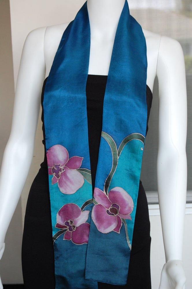 Image of Dark Blue Skinny Silk Scarf - Handpainted Silk