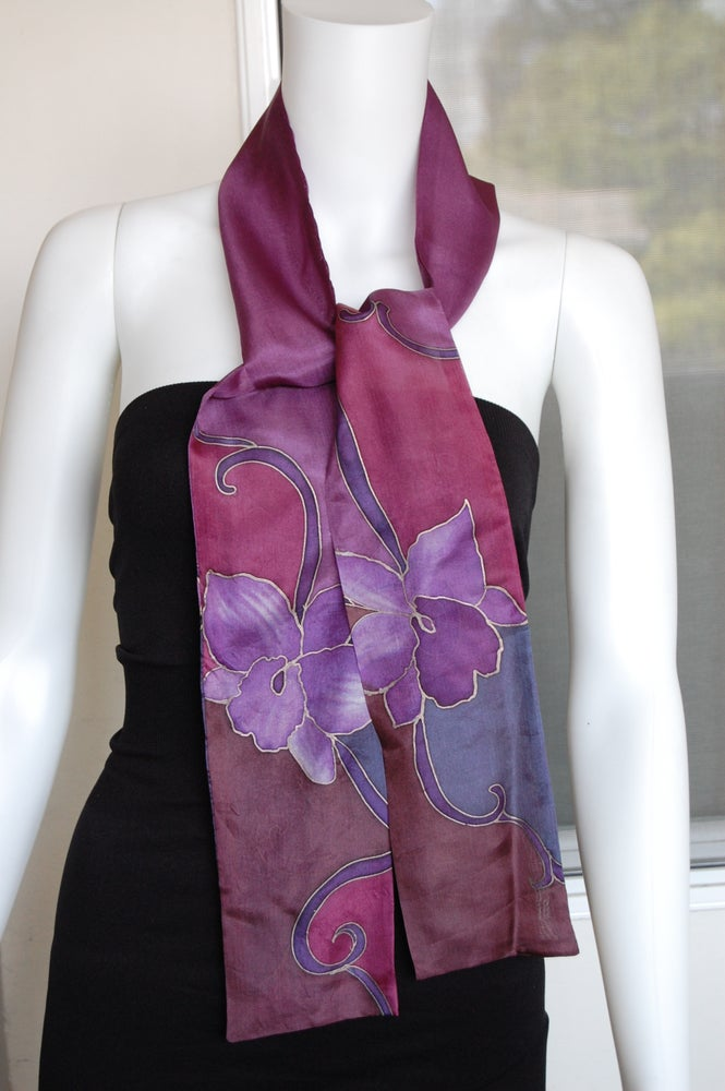 Image of Eggplant Skinny Silk Scarf - Handpainted Silk