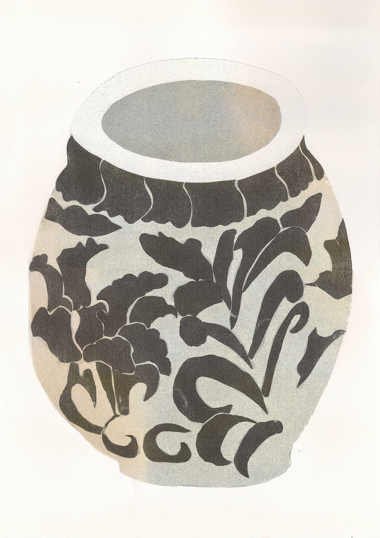 Image of papercut pot riso print