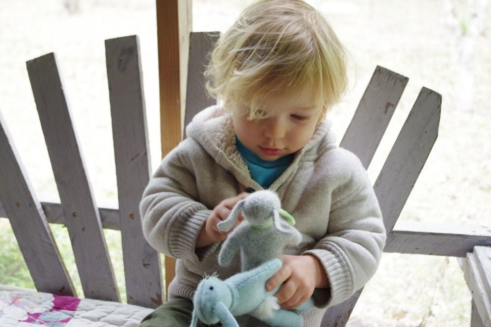 Image of Soft Wool Rabbits, sustainable toys
