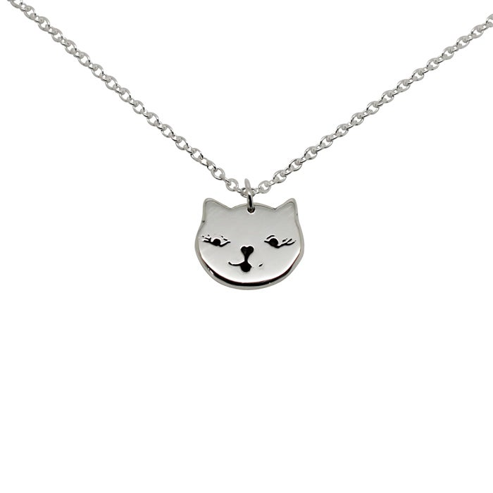 Image of Cat Face Necklace - Sterling Silver