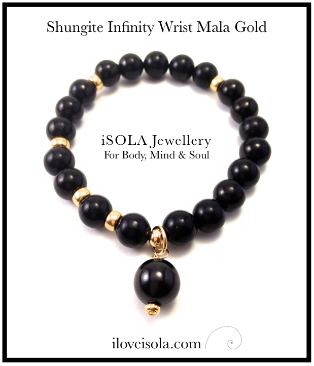Image of All Shungite Infinity Wrist Mala Gold