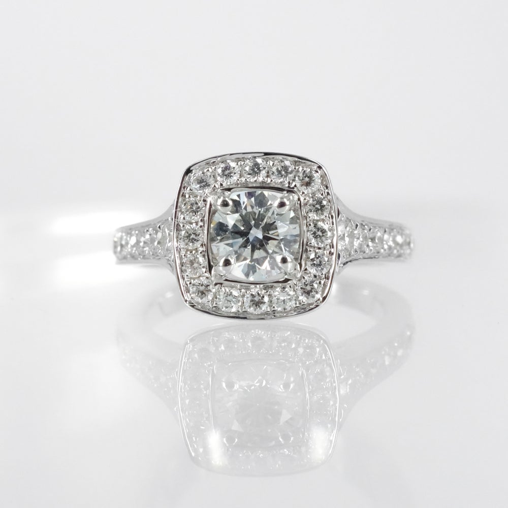 Image of 18ct white gold cluster engagement ring
