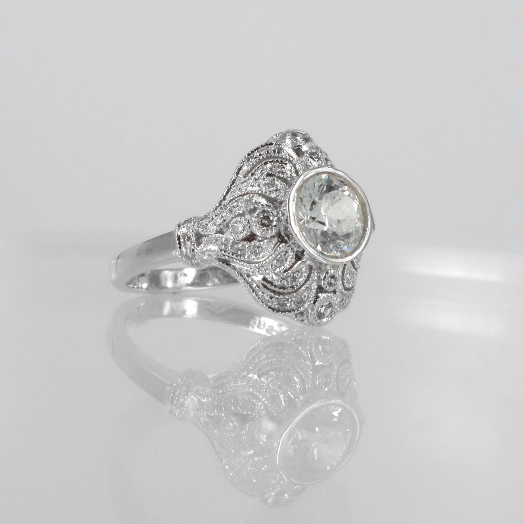 18ct white gold diamond art deco cluster engagement ring Pilkington Jewellers