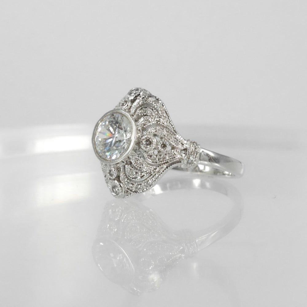 Image of  18ct white gold diamond art deco cluster engagement ring