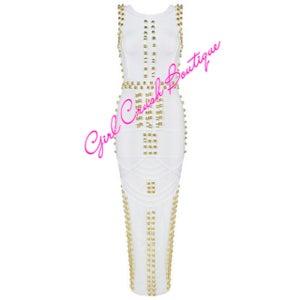 """Image of """"Ashante"""" White and Gold Embellished Bandage Dress"""