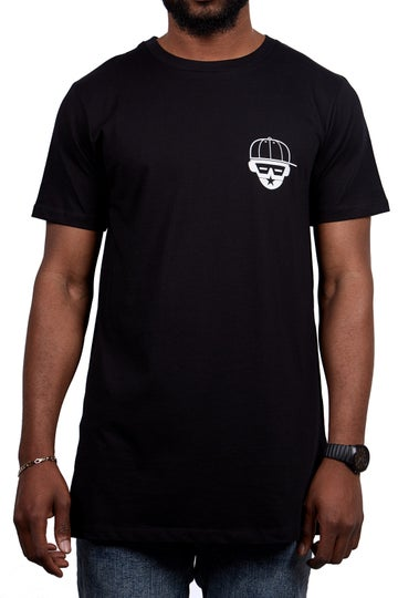Image of FACE LOGO LONGLINE TEE (BLACK)