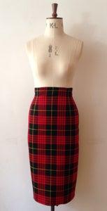 Image of Tartan high waisted pencil skirt