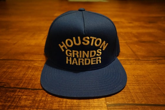 Image of Houston Grinds Harder Snapback - Blue & White