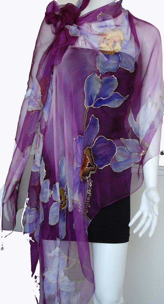 Image of Purple Silk Shawl - Handpainted Silk Shawl Made in USA
