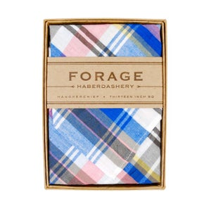 Image of blue plaid {handkerchief}