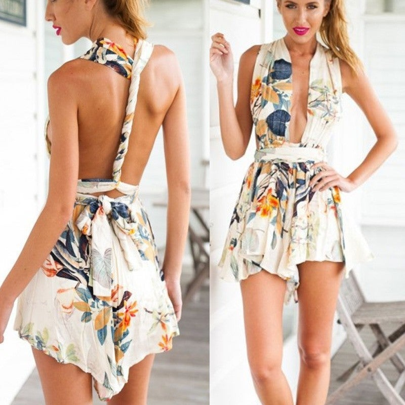 Image of Sexy floral romper jumpsuit