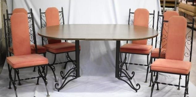 Vintage Dinette Dining Kitchen Wrought Iron Set 4 Chairs