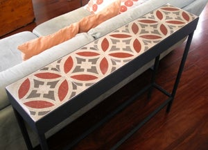 Image of 1 X 5 Red and grey diamonds console with 2 drawers