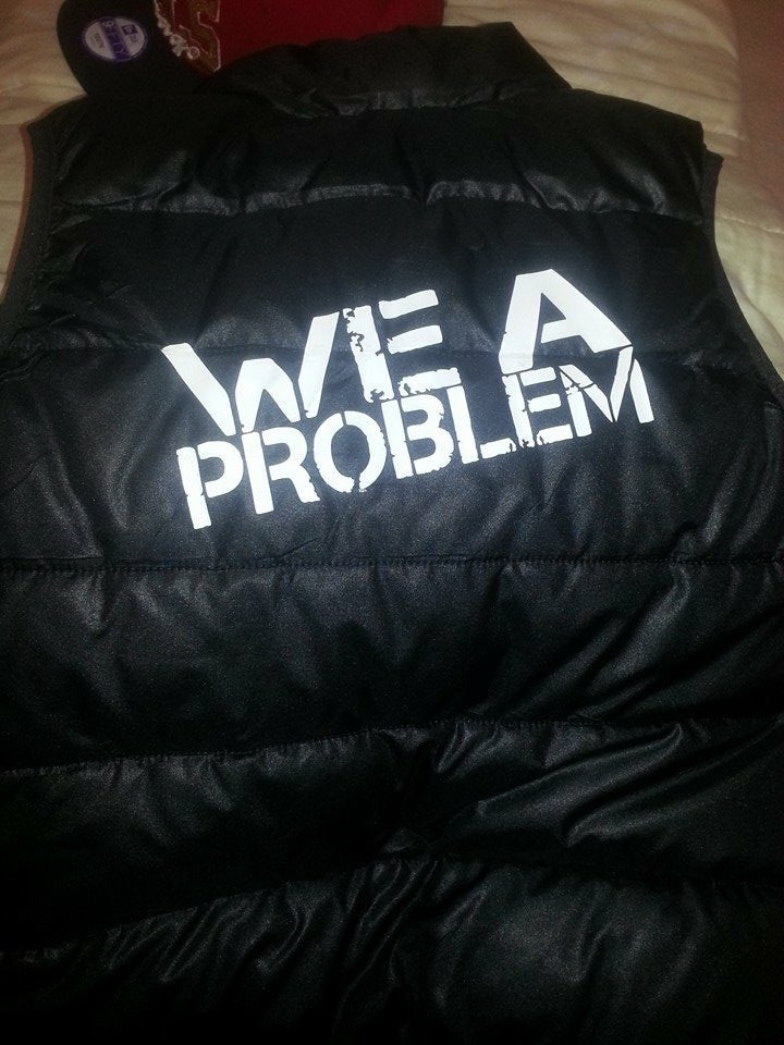 Image of We A Problem Embroidered Logo Leather Vest