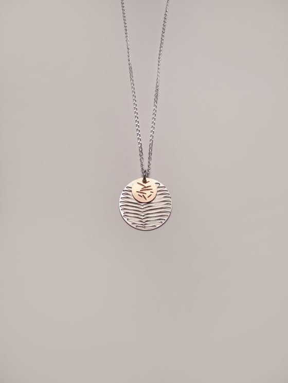 Image of MOON DOT NECKLACE: FROND POLLEN (ST. STEEL/COPPER)