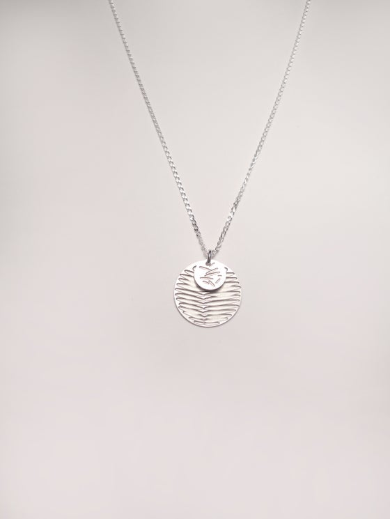 Image of MOON DOT NECKLACE: FROND POLLEN (ST. STEEL/ST.STEEL)