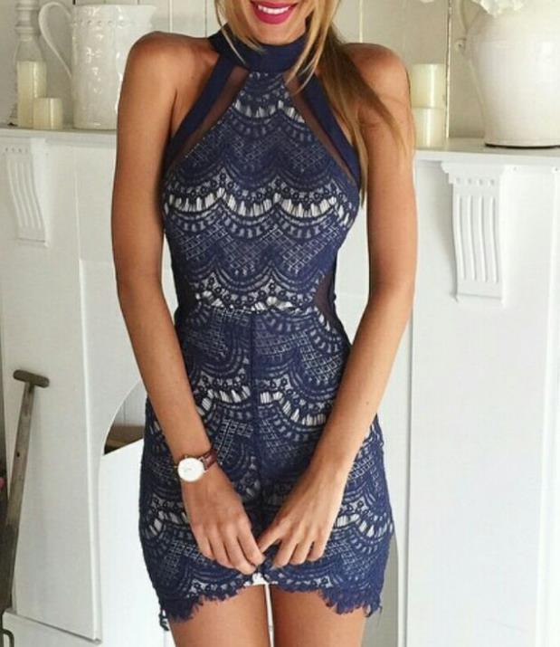 Image of Fashion sleeveless lace dress AHB63DK