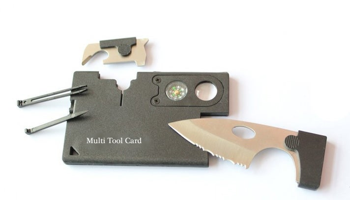 Image of 9 Tool Survival Card, Knife, compass