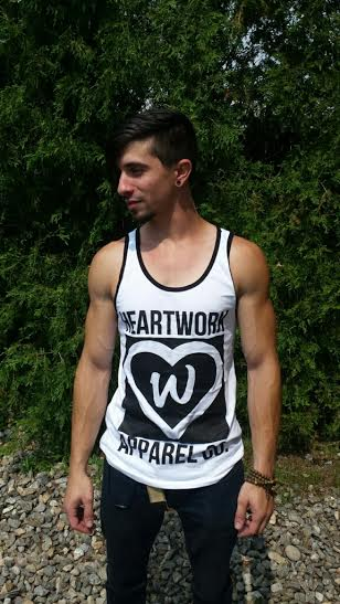 Image of Mens White/Black Block Logo Tank
