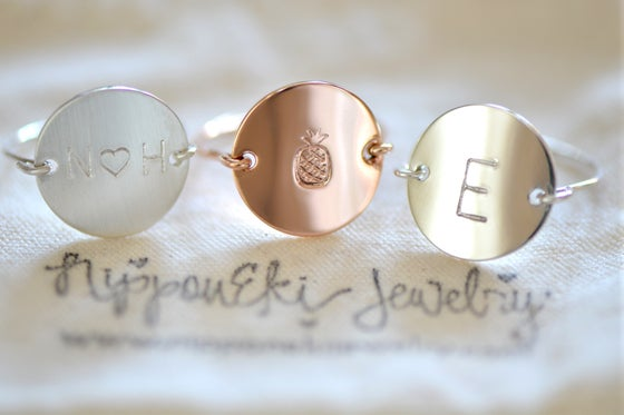 Image of Initial Ring - Hand Stamped & Personalized - Gold, Sterling Silver or Rose Gold