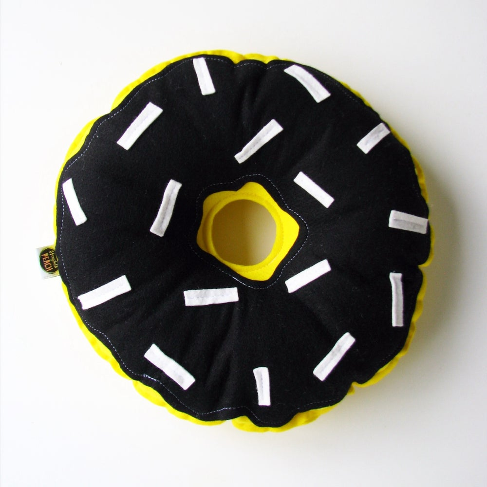 Image of COLOUR DONUTS - YELLOW WITH BLACK FROSTING