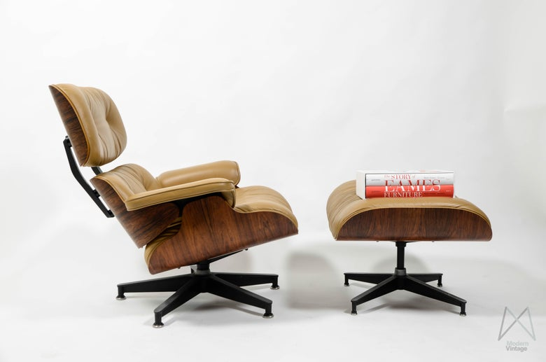 Image of Eames Lounge Chair Ottoman Rosewood Honey Luggage Leather Vintage