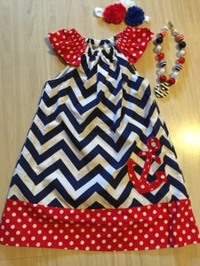 Image of CLEARANCE: Chevron Anchor Flutter Sleeve Dress, Red White and Blue Flutter Sleeves