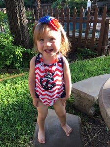 Image of Chevron Anchor Romper, Onesie Halter Style with Ruffle Butt